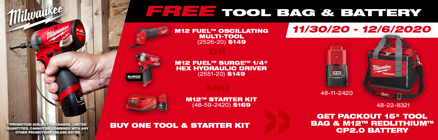 Milwaukee Cyber Week Tool Bag Promo!