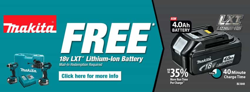 Makita Free Battery Mail in Rebate Promotion!