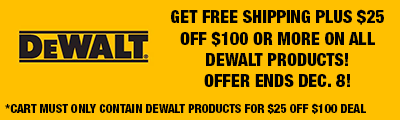 Free Shipping on DeWalt Orders over $25!