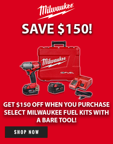 Save $150 when you purchase select Milwaukee FUEL Kits with a Bare Tool!