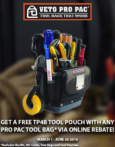 Get a FREE TP4B Tool Pouch with select Veto Pro Pac Tool Bag Via!