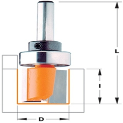 CMT 811.127.11B Pattern Bit with Bearing Carbide-Tipped 1//4-Inch Shank,1//2-Inch Diameter
