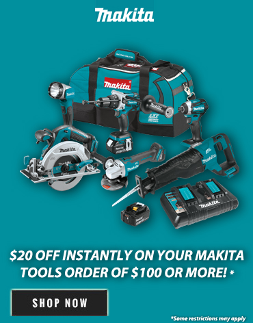 Save $20 off your purchase of $100 or more select Makita products!