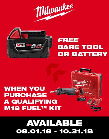 Get a great deal on a Milwaukee M18 kits with a FREE tool!